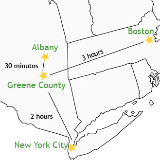 Greene County is close to NYC and Boston