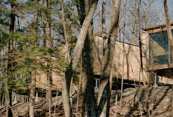 Outdoor cabins floating in the trees